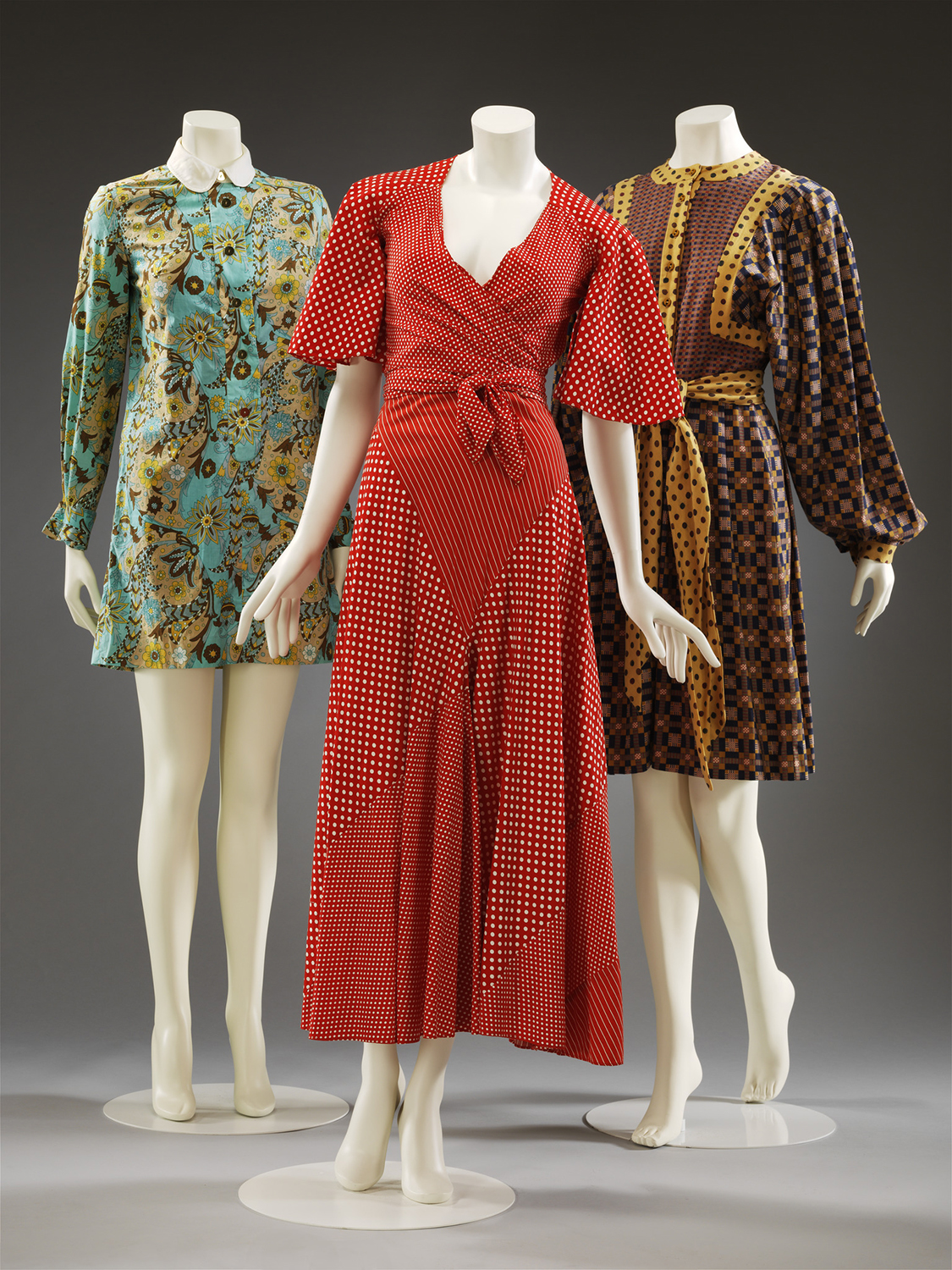 Three patterned ensembles, Mary Quant, 1964 – 1971, London. Museum no. T.22-2013,T.498-1993 & PROV.6-2018. © Victoria and Albert Museum, London