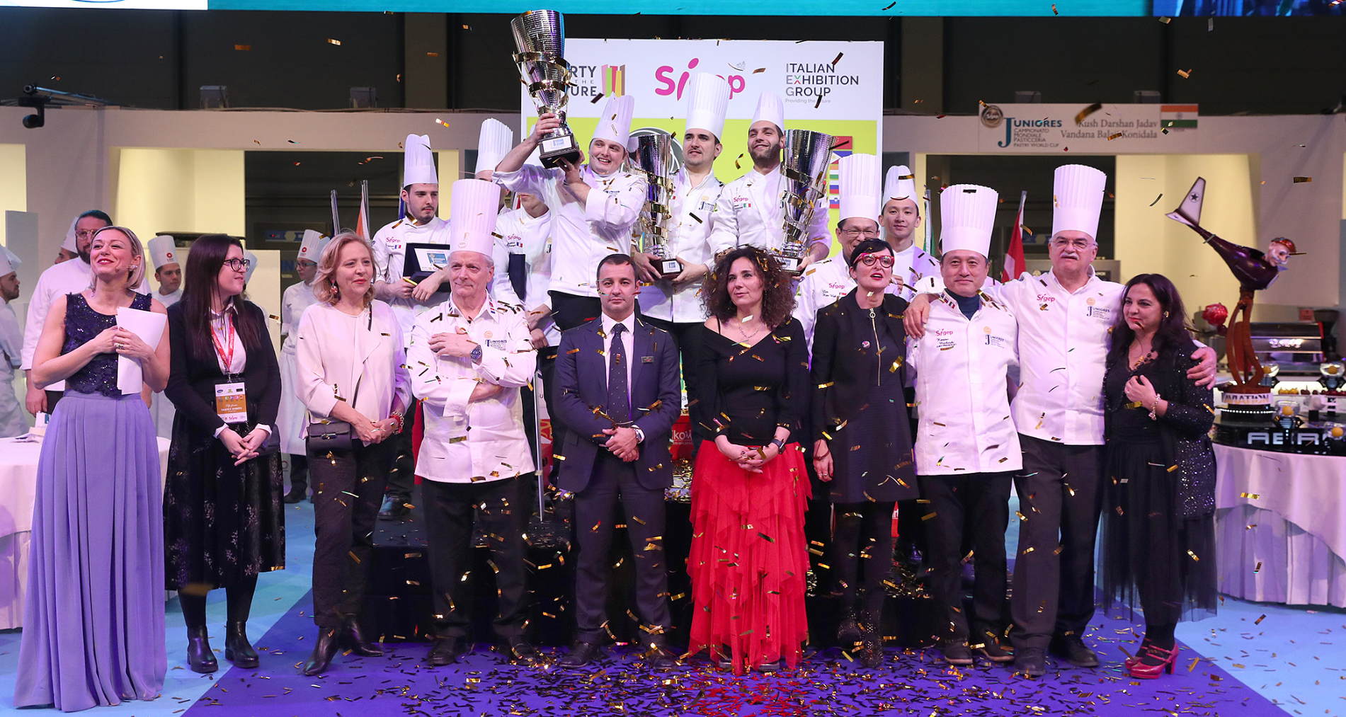 Team Italy stand tall on the podium after winning the 2019 Junior World Pastry Cup