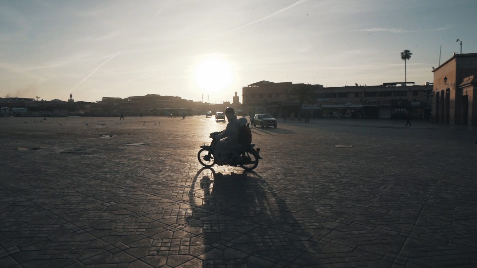 Motorcycle in the early morning on Djemaa el Fna
