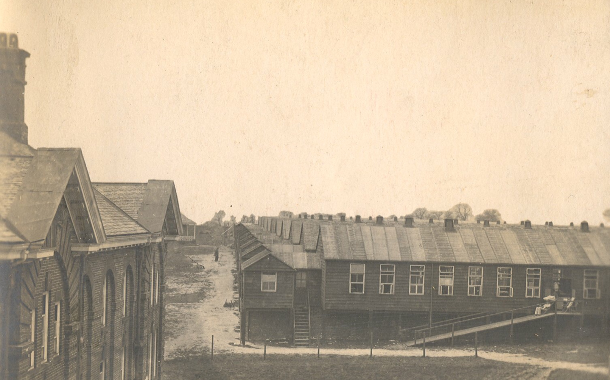 Hospital extension huts on playing fields, c1917
