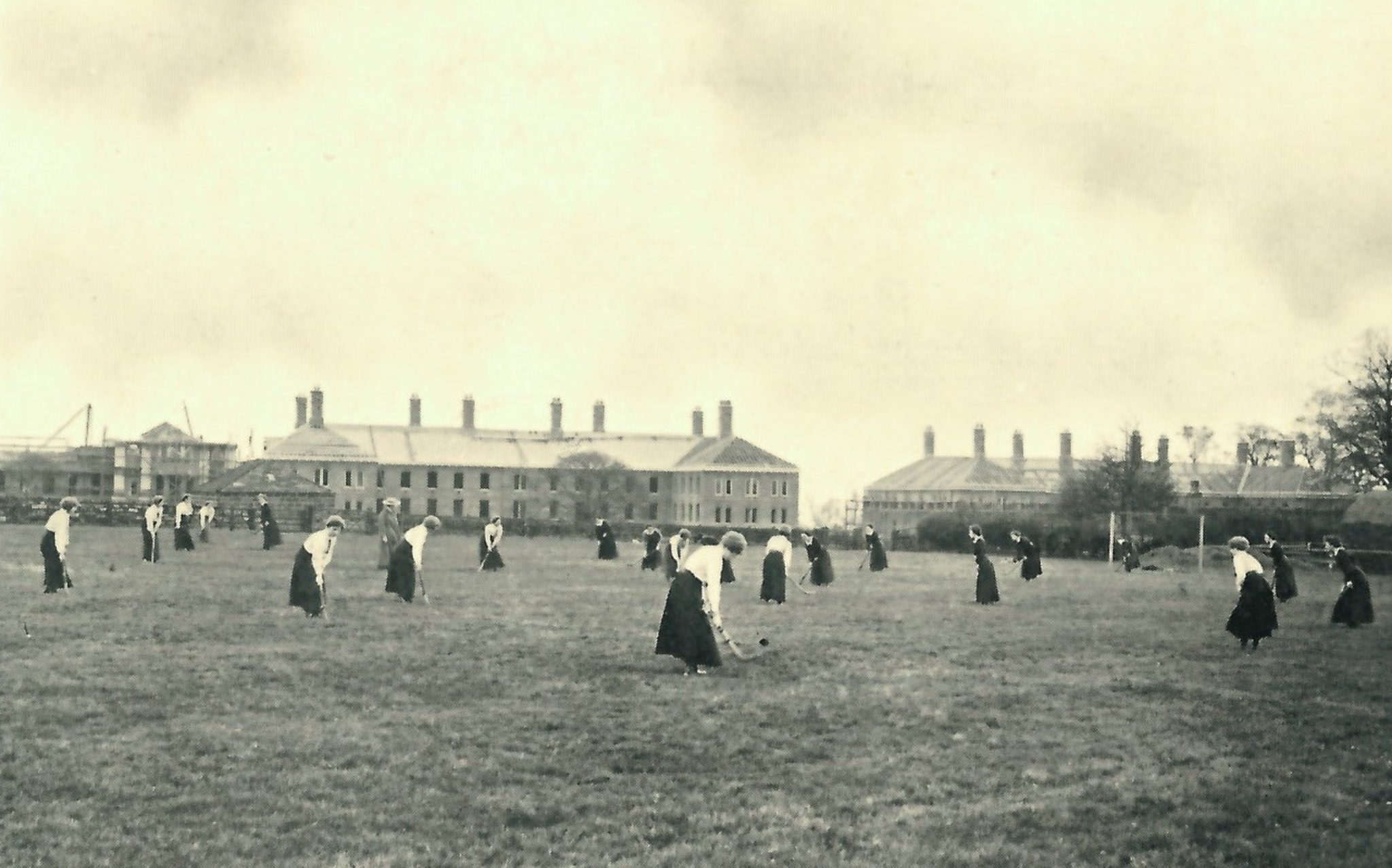 Women students on playing fields