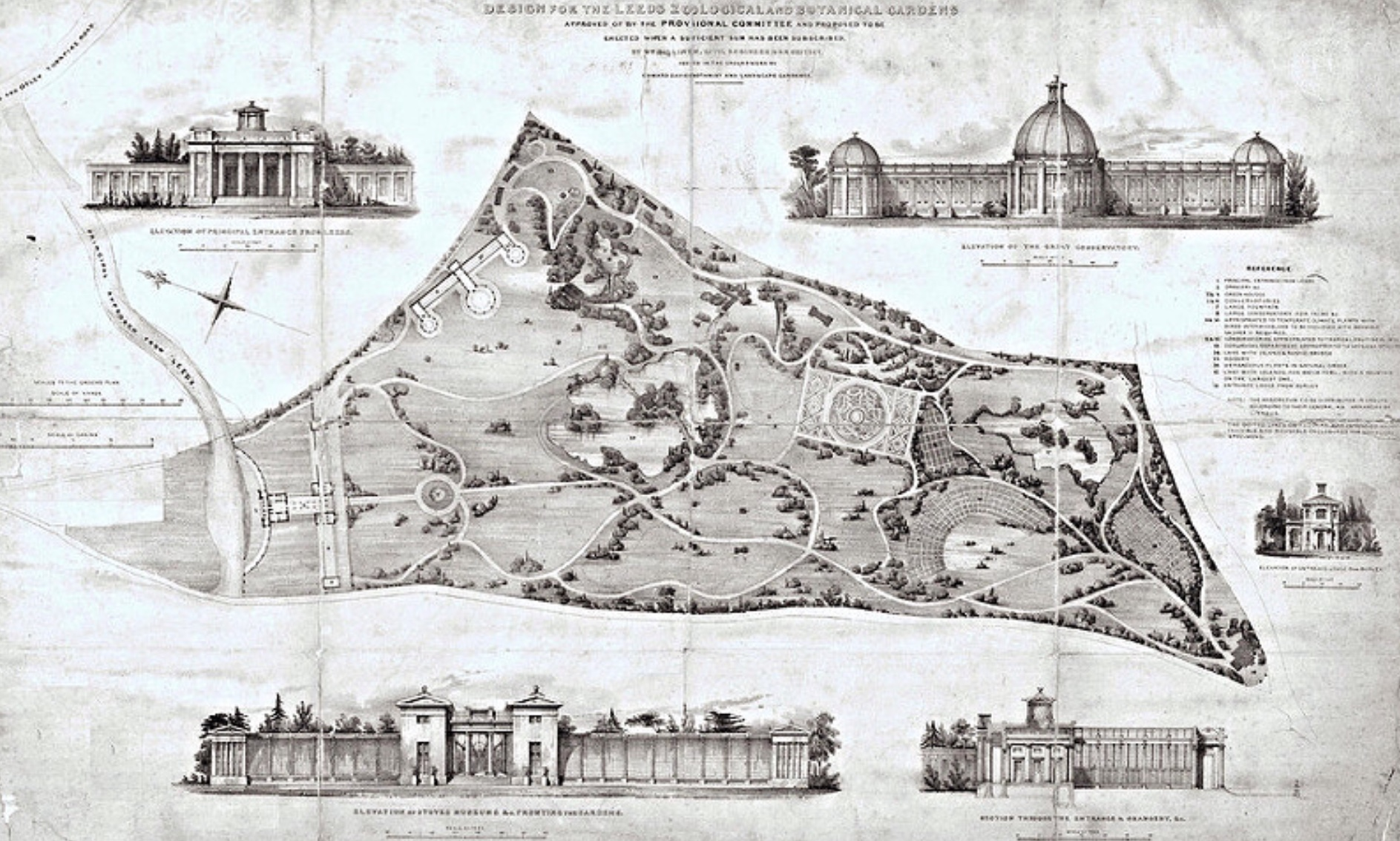 William Billinton & Edward Davies, Design for the Leeds Zoological and Botanical Gardens, 1837 (not implemented)
