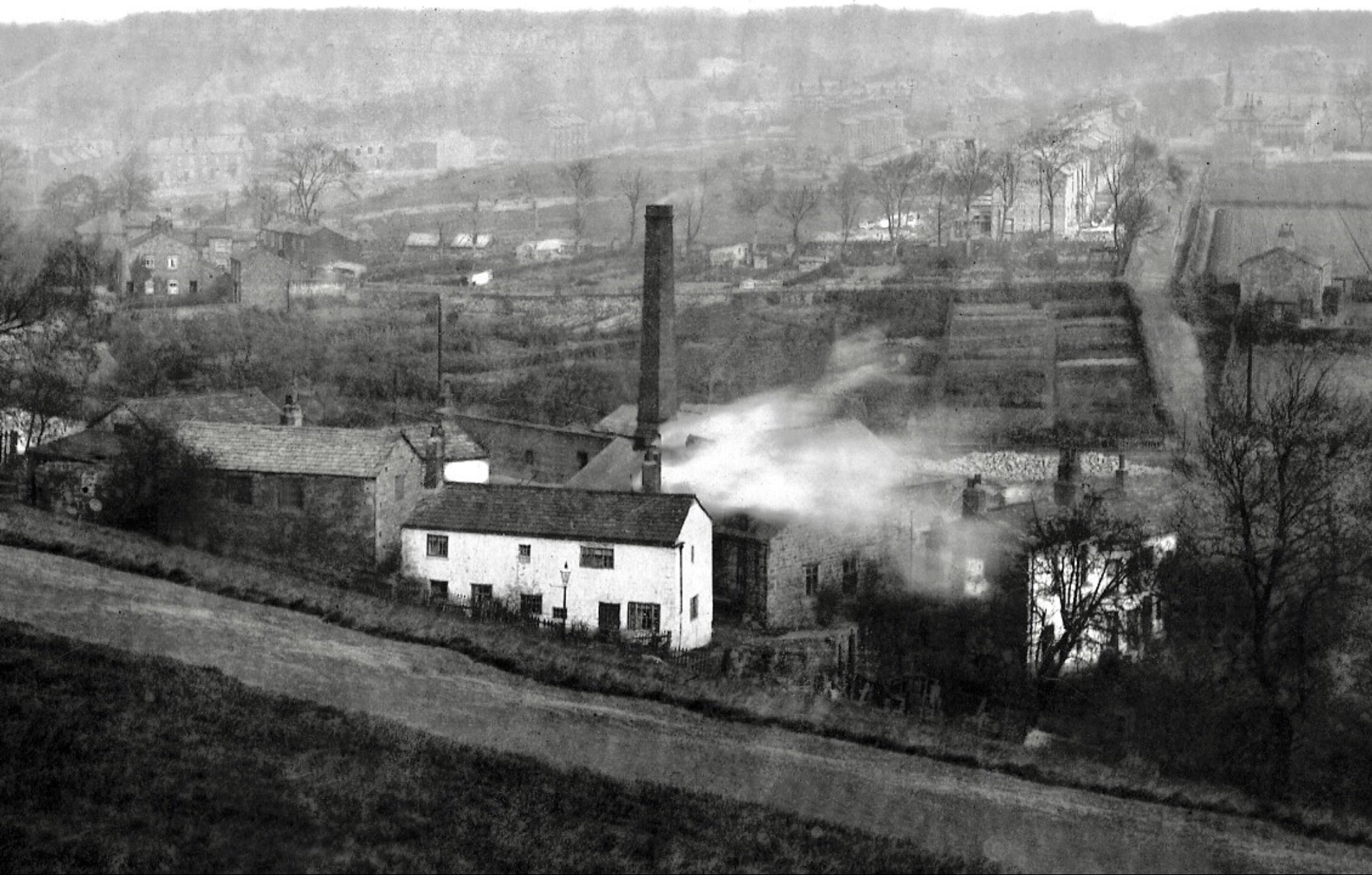 Woodland Dye Works [demolished],  from Woodhouse Ridge, circa 1890