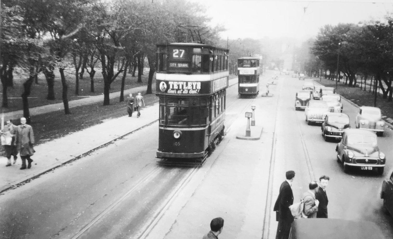 Woodhouse Lane, crossing Woodhouse Moor, 1950s