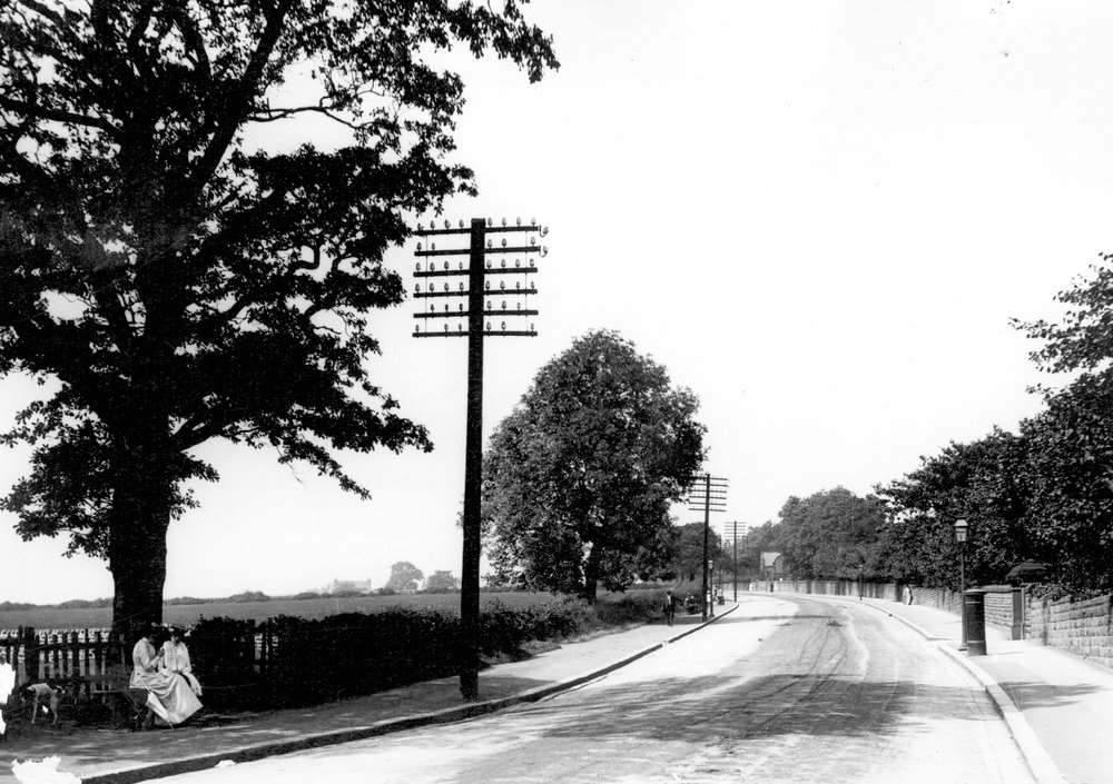 Otley Road, on Reservoir Hill, approaching West Park, c1900