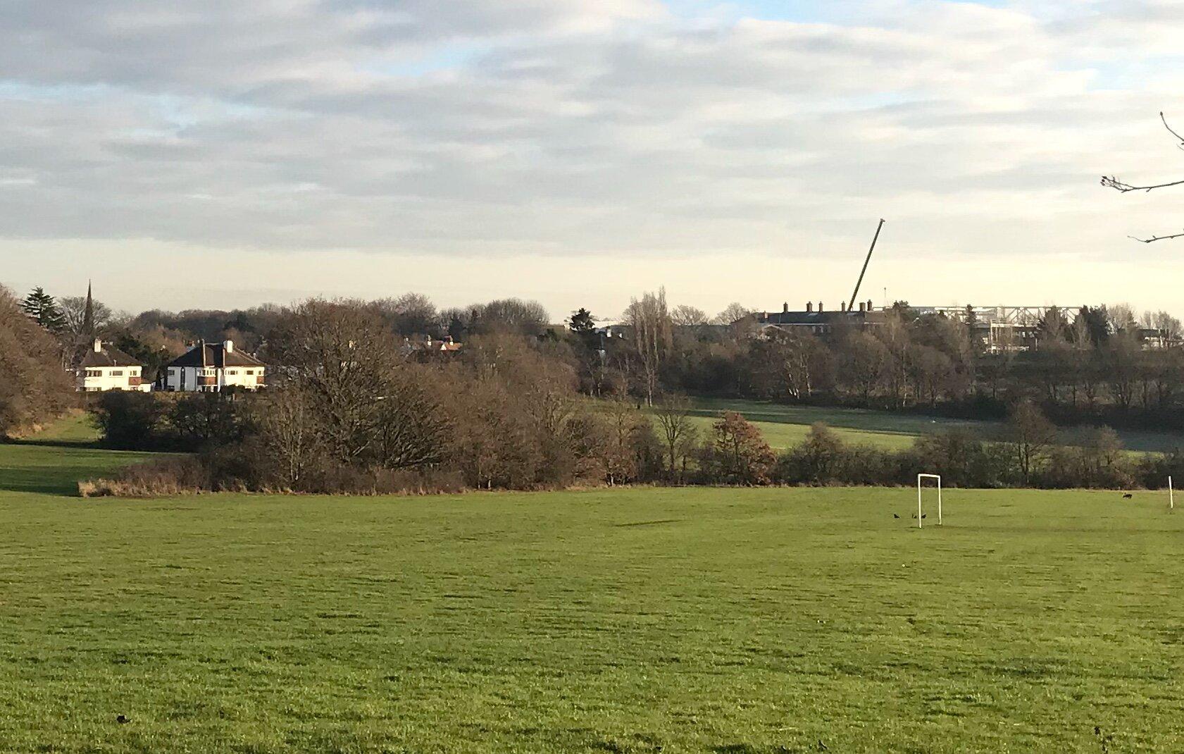 West Park Fields, view south to Leeds Beckett University © HP
