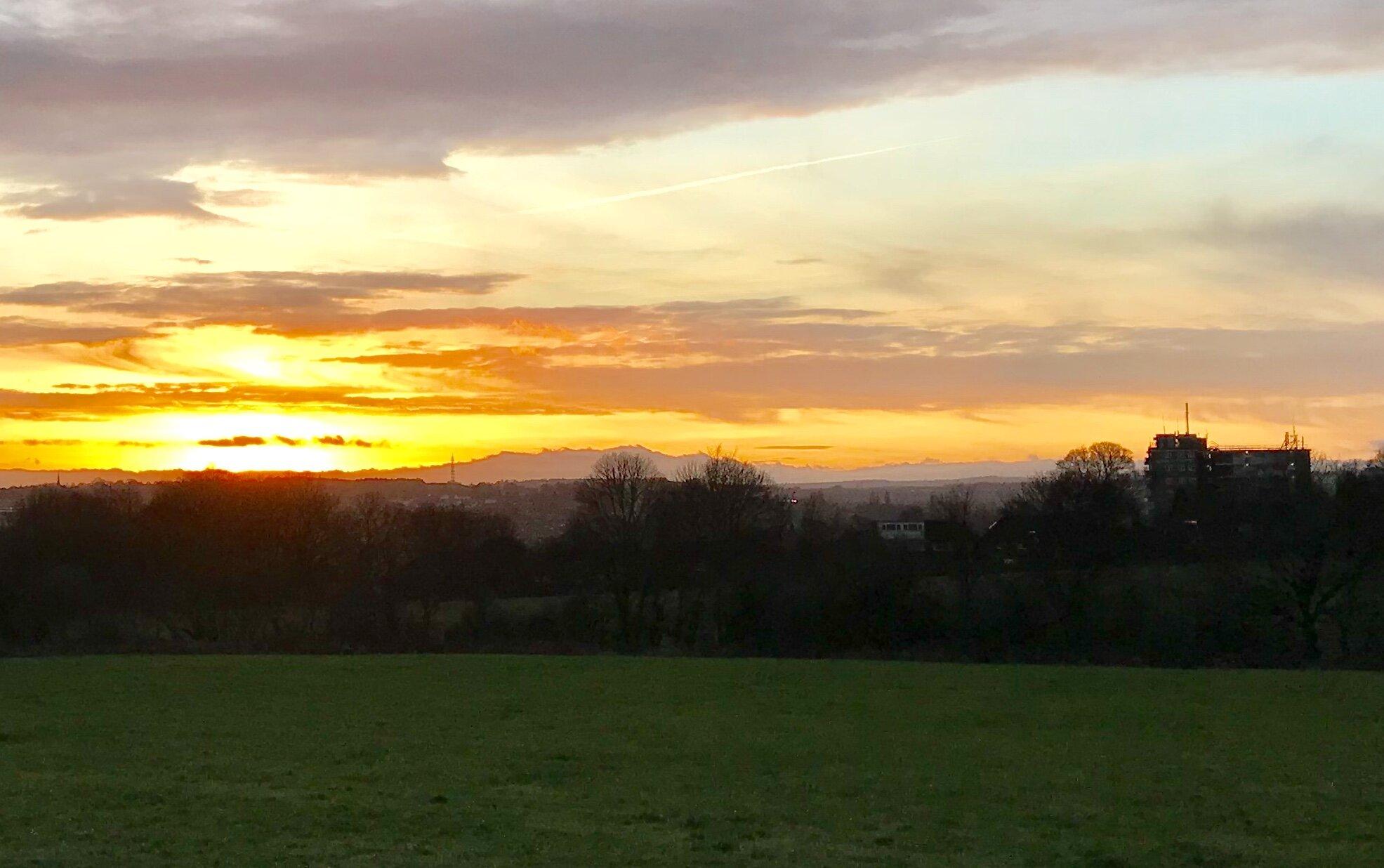 Sunset over West Park Fields © HP