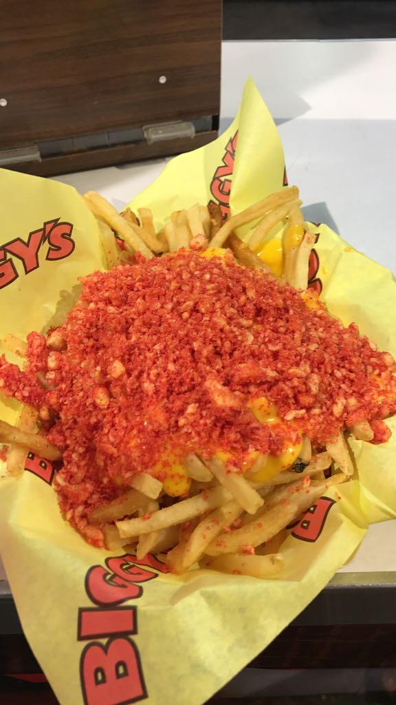 Hot Cheetos cheese fries