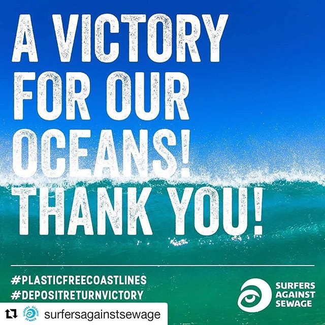#Repost @surfersagainstsewage (@get_repost) ・・・ Thank you for your support on our deposit return scheme campaign! We're stoked the Government has committed to this for England to help stop plastic pollution! RT if you signed our petition! #MessageInABottle #PlasticFreeCoastlines #SurfersAgainstSewage