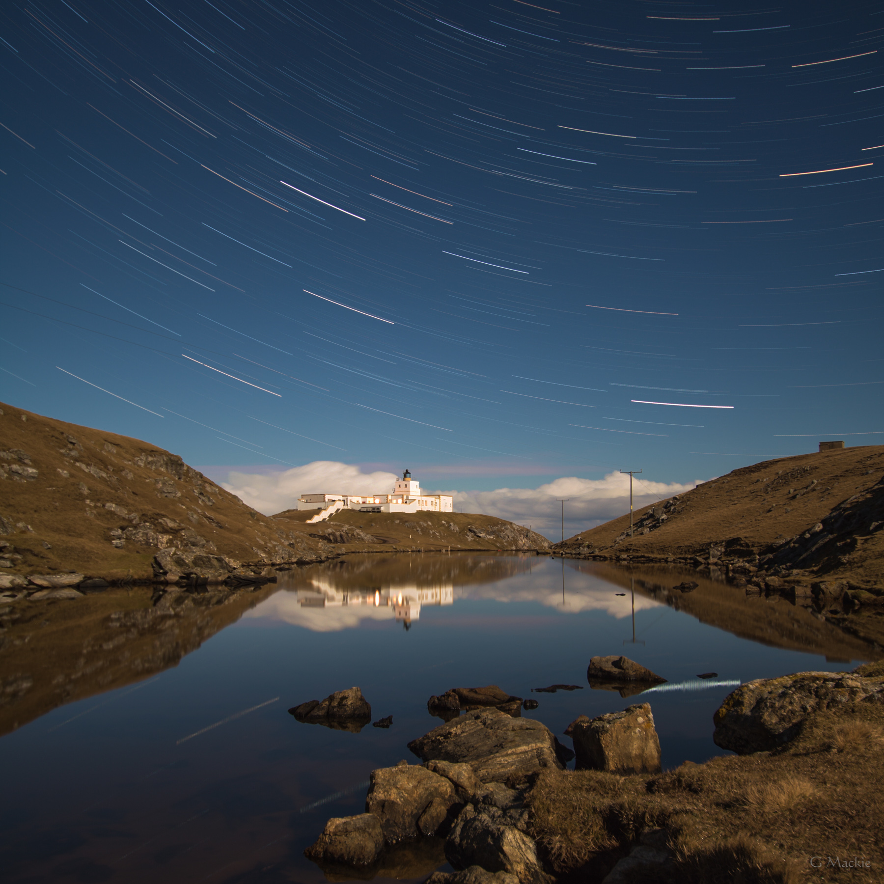 Star Trails and Strathy Lighthouse at Strathy Point