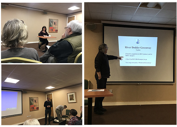 Victoria White, Richard Good and John Lacy, talking at our Annual General Meeting about Dodder Action's 2017 and looking forward to 2018's activities
