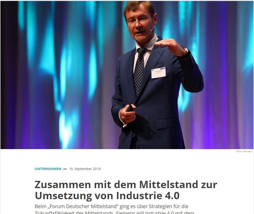 """Zusammen mit dem Mittelstand zur Umsetzung von Industrie 4.0 - Beim """"Forum Deutscher Mittelstand"""" ging es über Strategien für die Zukunftsfähigkeit des Mittelstands. Siemens will Industrie 4.0 mit dem Mittelstand umsetzen."""
