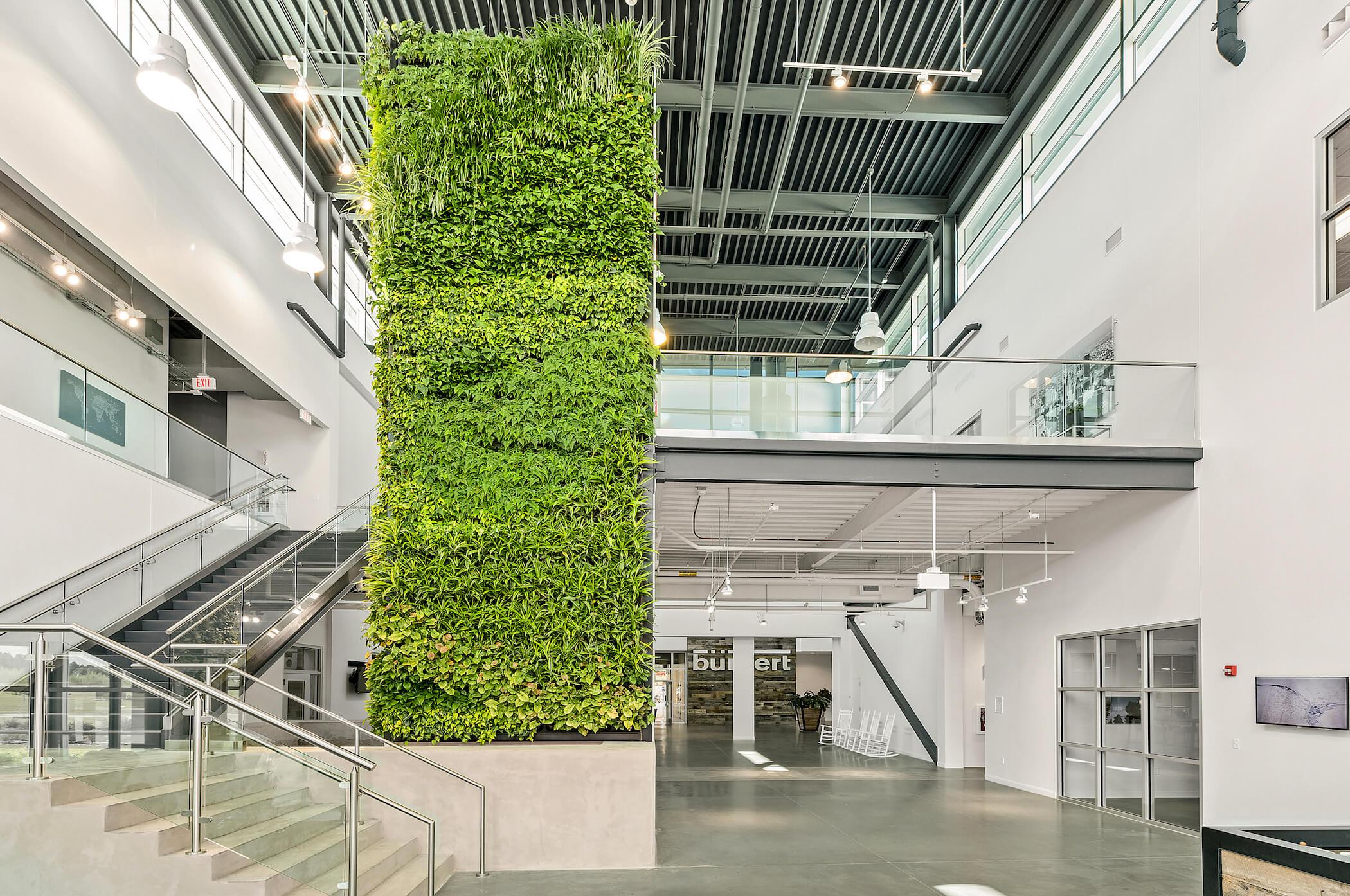 Large Column Living Wall Installation at Burkert US Headquarters - Charlotte, North Carolina