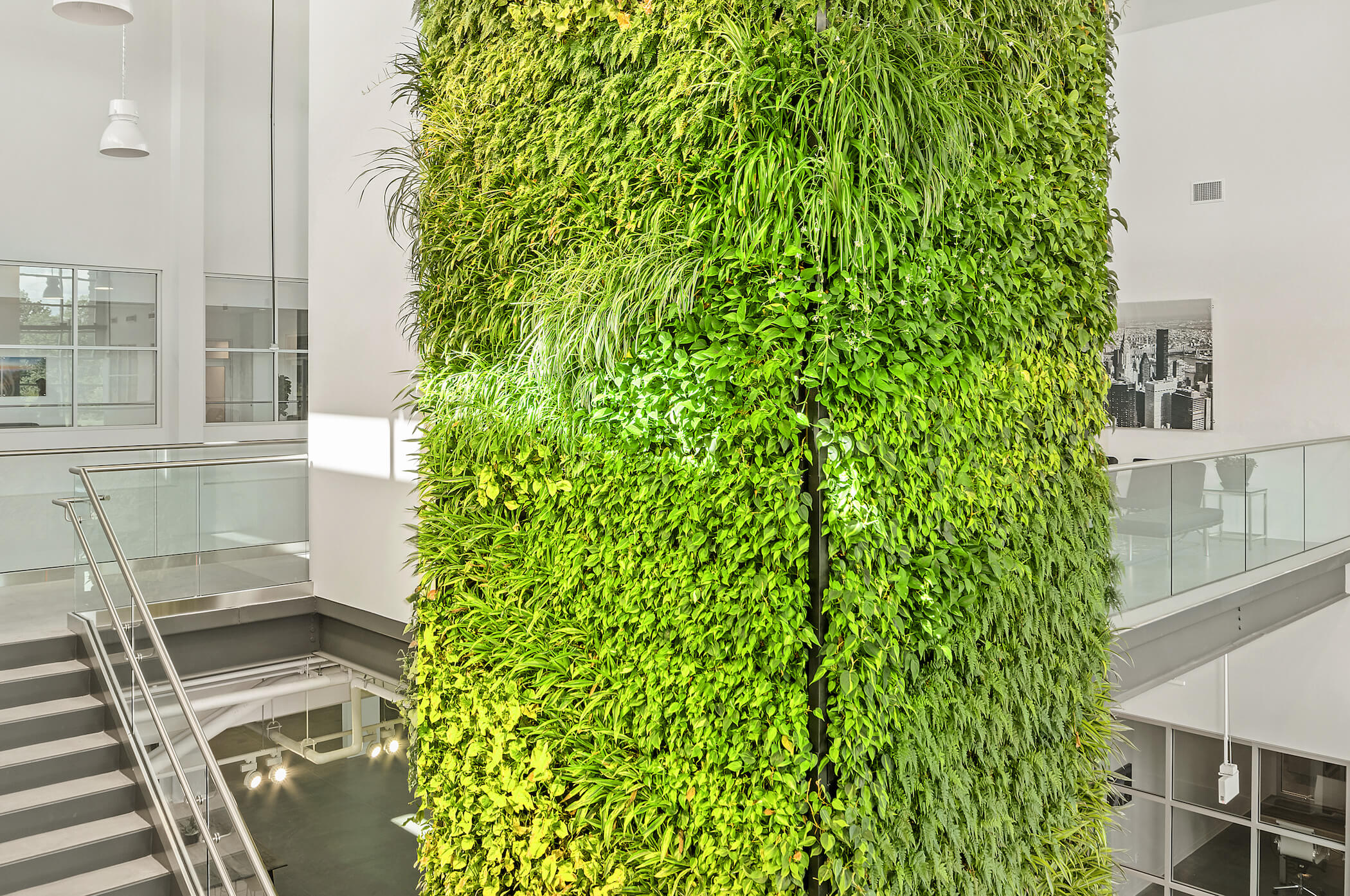 Three-sided plant wall column by Suite Plants