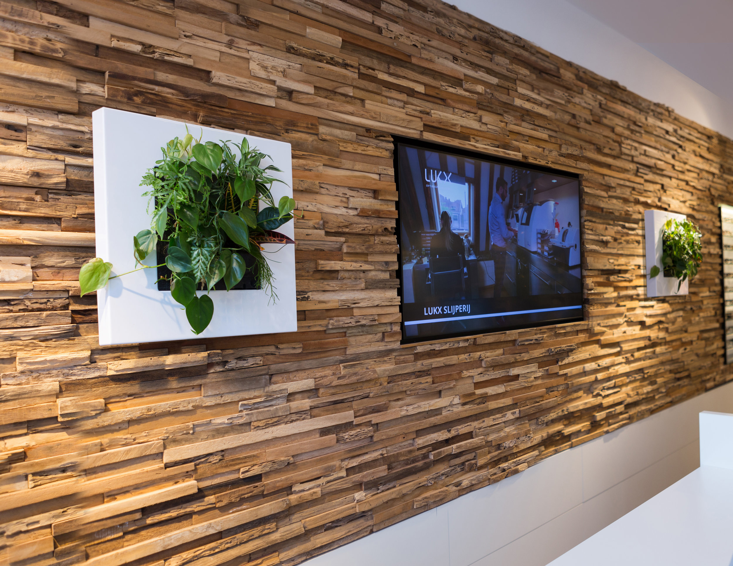 LivePictureGO White Office TV Stone Wall