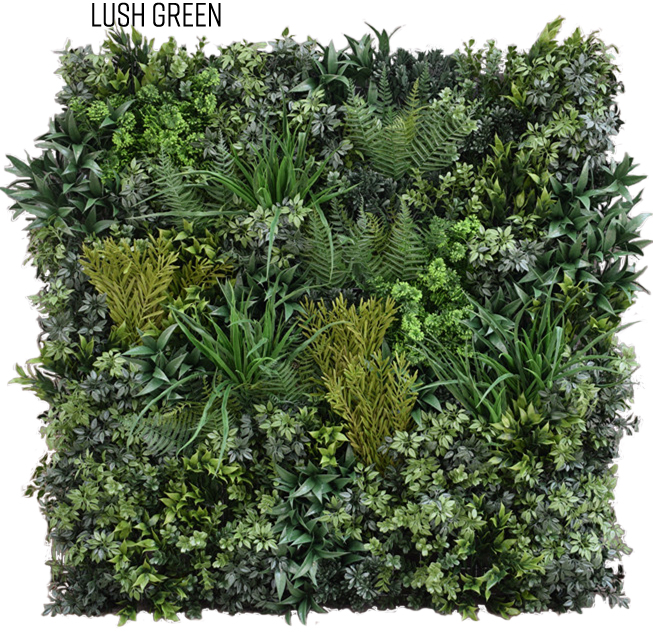 Lush Green ALW Panel  All plants in the Lush Green variation are UV-rated and fire retardant, making this style perfect for outdoor use. Our various colorful plants that can be added for customization are also UV-rated and fire retardant.