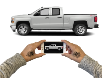 *Please note the camera and truck are parallel, the image in the camera has the full view of the truck on it. Please repeat this process for each side of your project and email to info@artcitywraps.com