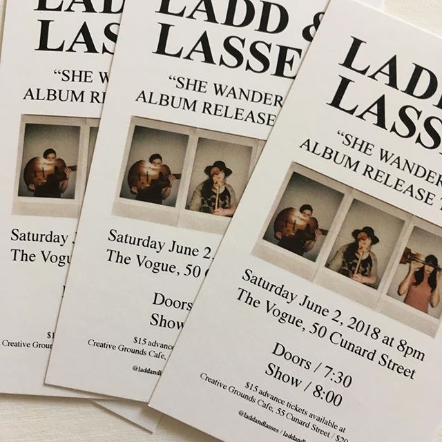 Tickets are now available at Creative Grounds Cafe for our show at The Vogue in Miramichi on June 2nd!  Of course, if it's easier for you, you can totally send us an etransfer to laddandlasses@gmail.com. Tickets are $15 in advance and $20 at the door, so save yourself $5 and get your tickets now!