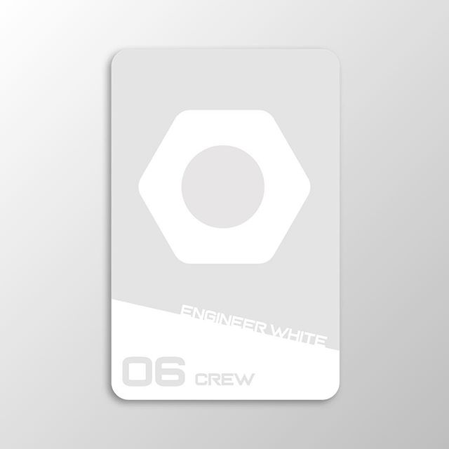 Sci-Fi Clue card 12. Introducing one of our Crew Members in this space murder mystery. Engineer White.  #design #graphicdesign #designer #game #clue #card #visualdesign #icon #icondesign #scifi #uxdesigner #uidesigner