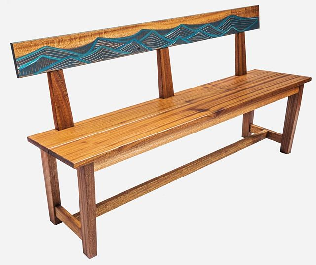 'Monhegan Sound', the perfect bench to watch the waves roll in. Sapele mahogany with hand painted waves and hand carved details. #woodisgood #wooddesign #womeninwoodworking #mahogany #madeinmaine #islandlife #handcrafted #furnituredesign #oceanwaves #scenesofmaine #mainemakers #coastaldecor #designermaker #themaineway #handsandhustle #makersgonnamake #lovewhatyoudo