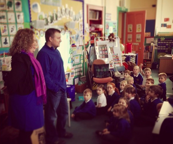 Speaking to elementary students about the United States in Montrose, Scotland.