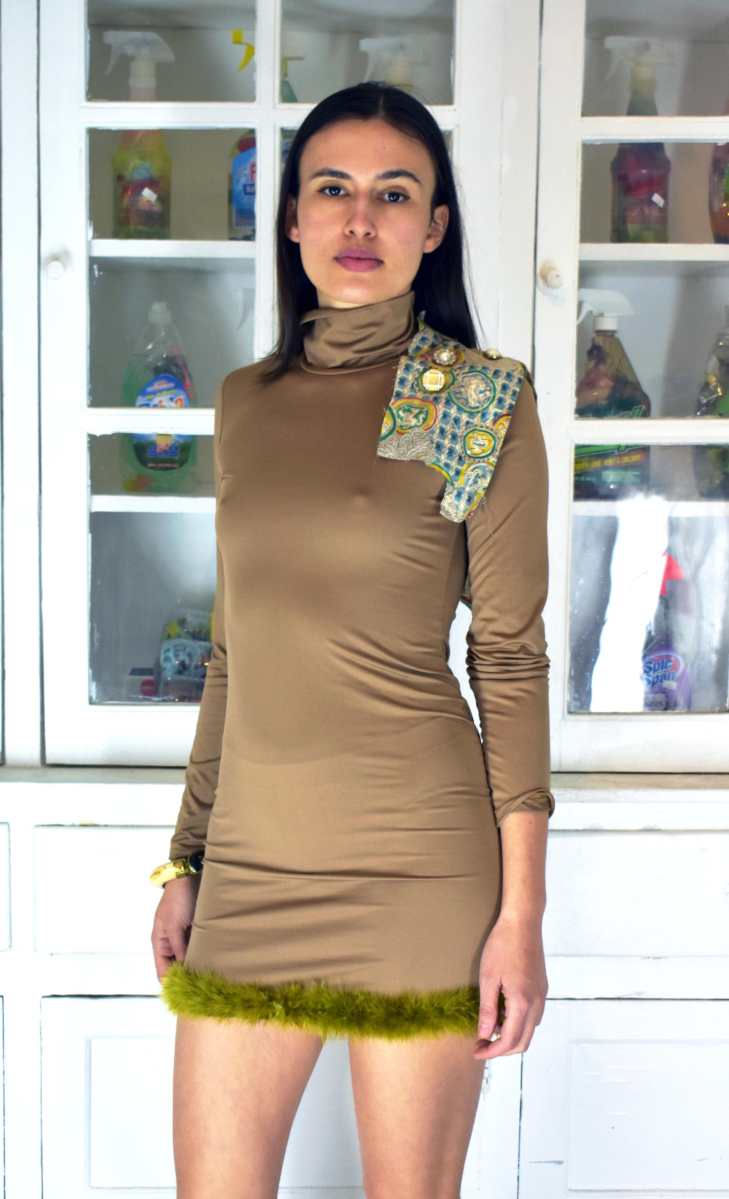 Little Tan Turtleneck Dress