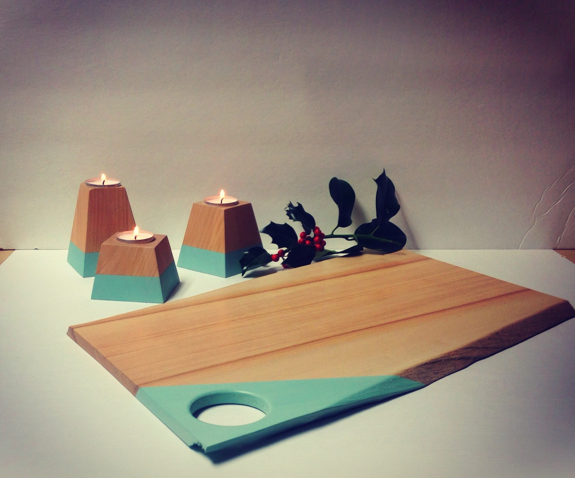 Serving board and candles