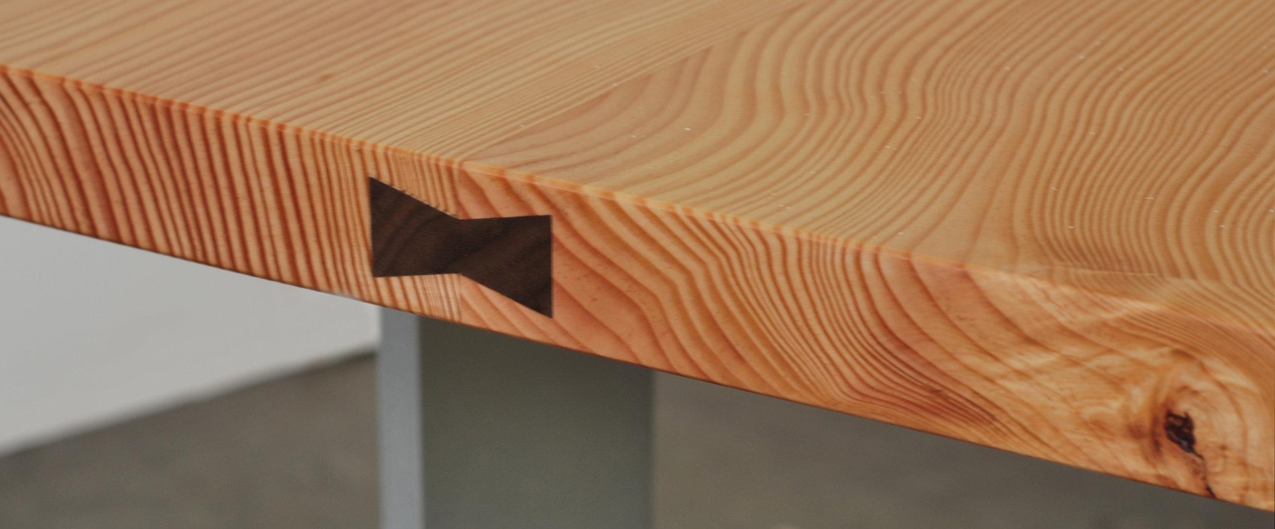 Dovetail spline detail on Memorial Bench