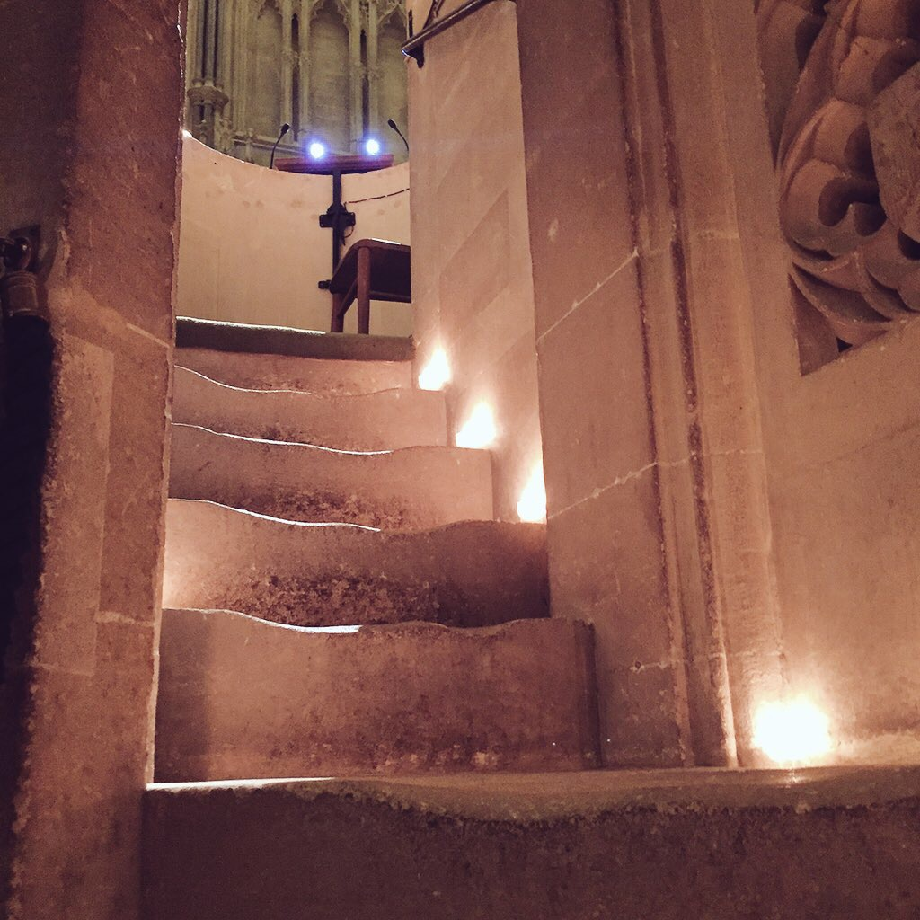 The candlelit stairs up to the pulpit at Wells Cathedral