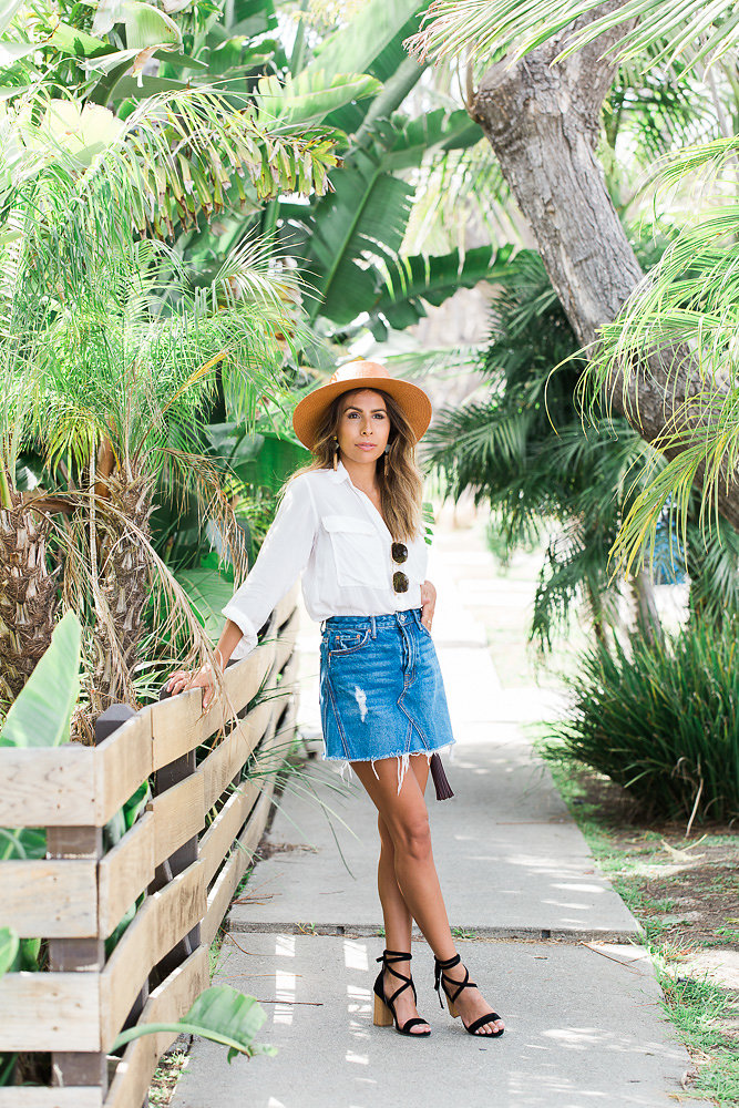 how to wear a denim skirt, summer outfit ideas, venice los angeles