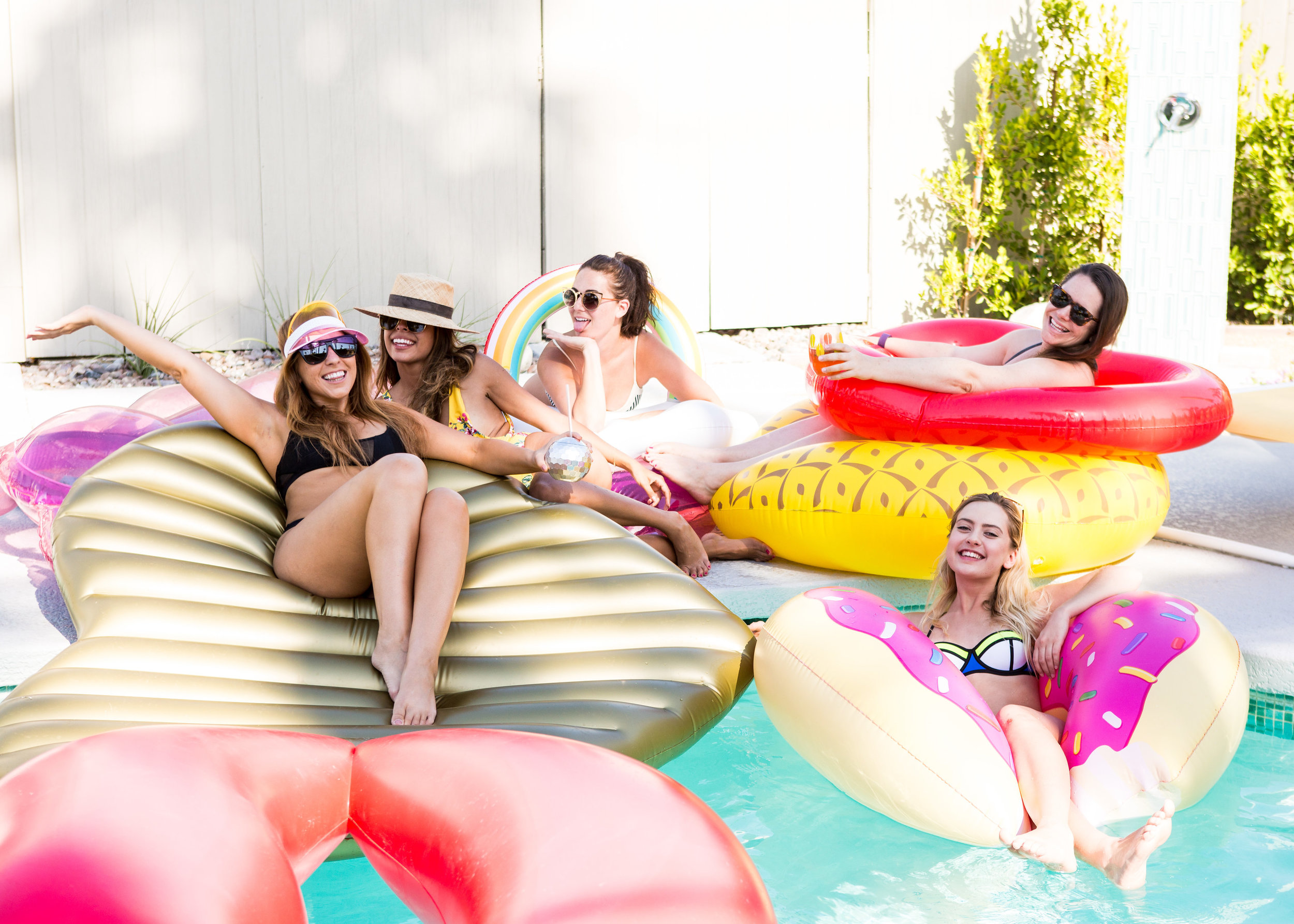 pool floats, palm springs vacay, mellow yellow butterfly house