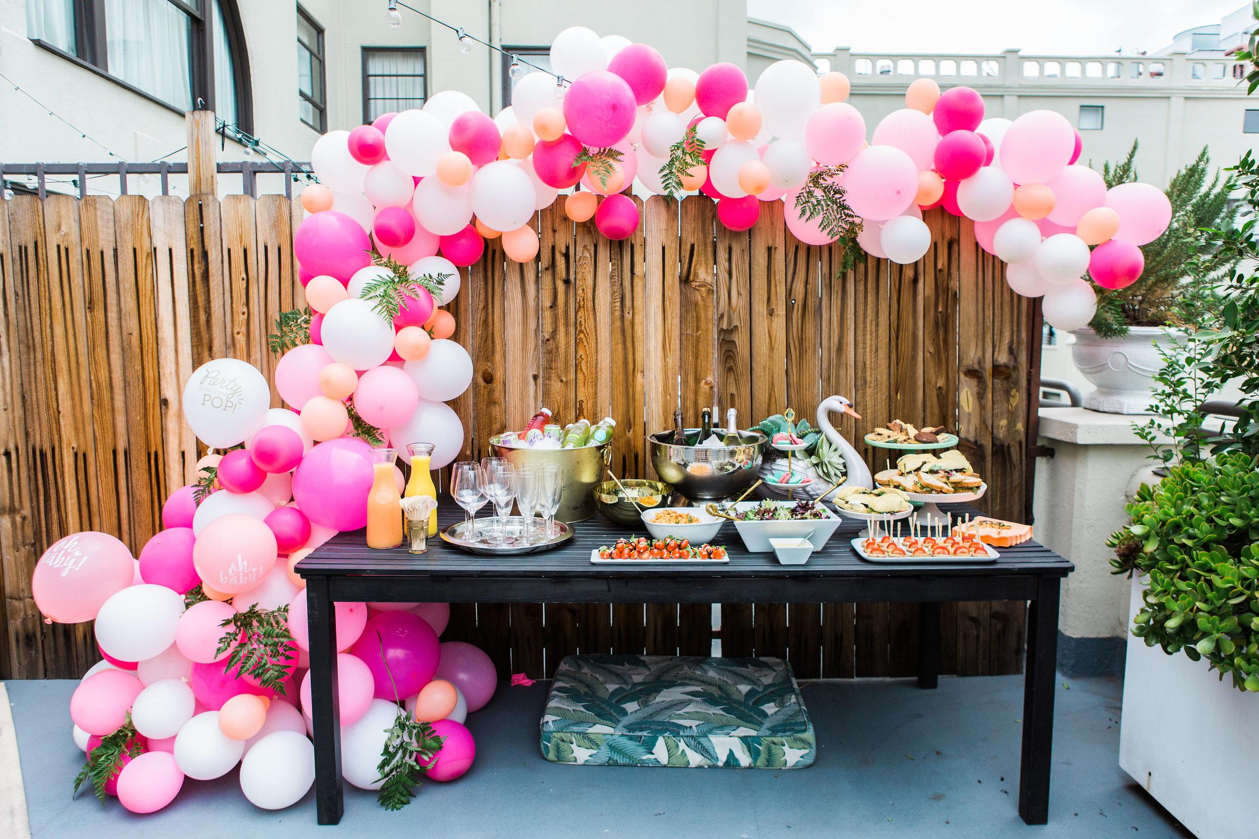pink and coral balloon garland