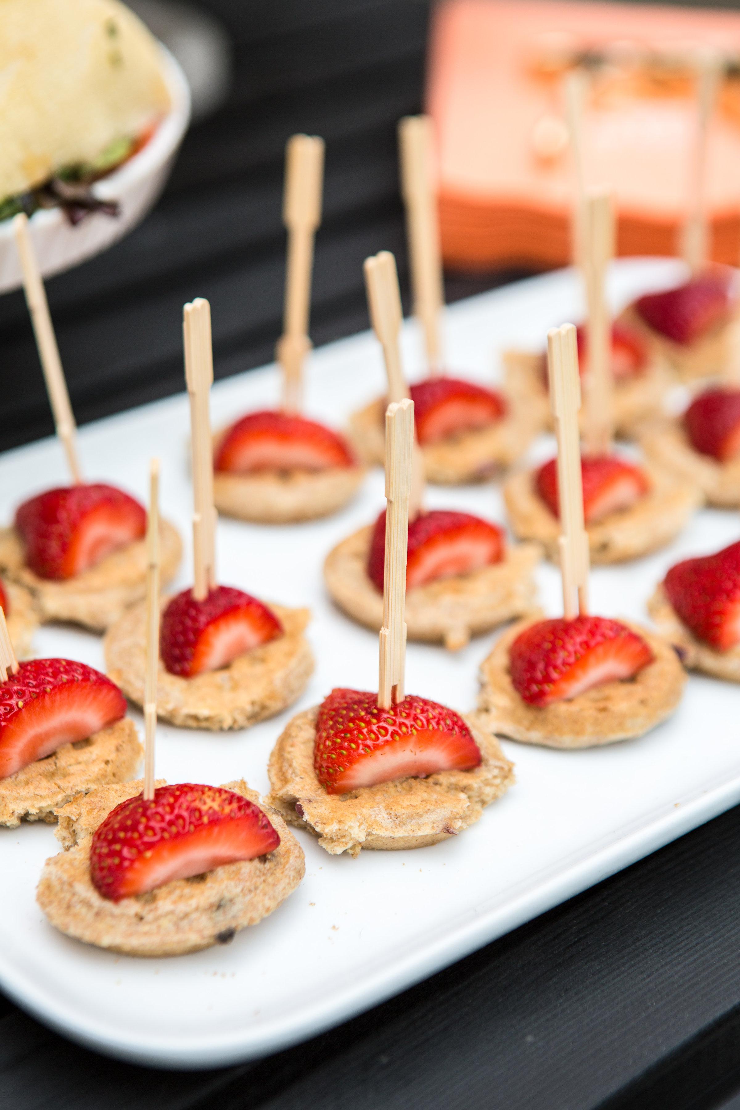 waffle and strawberry bites
