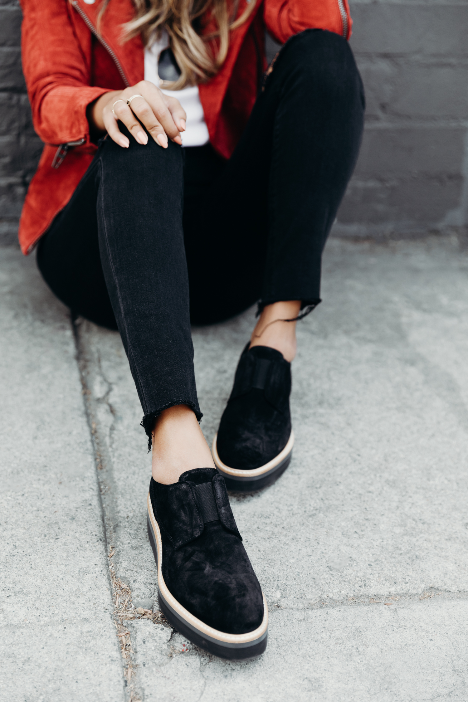 BLANKNYC jacket and VINCE platforms, Fall outfit inspo