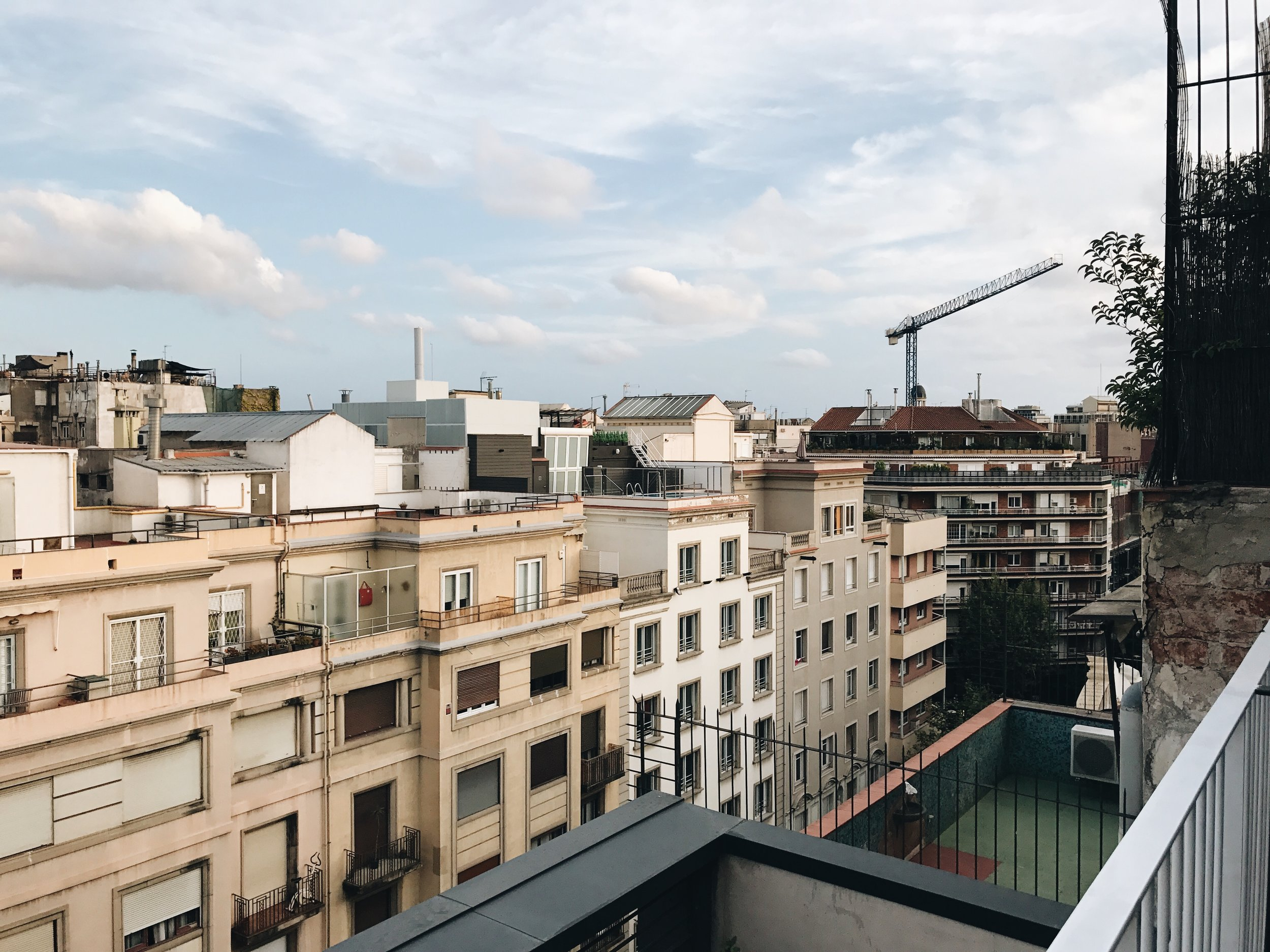 view from balcony at generator hostel, barcelona - where to stay in barcelona