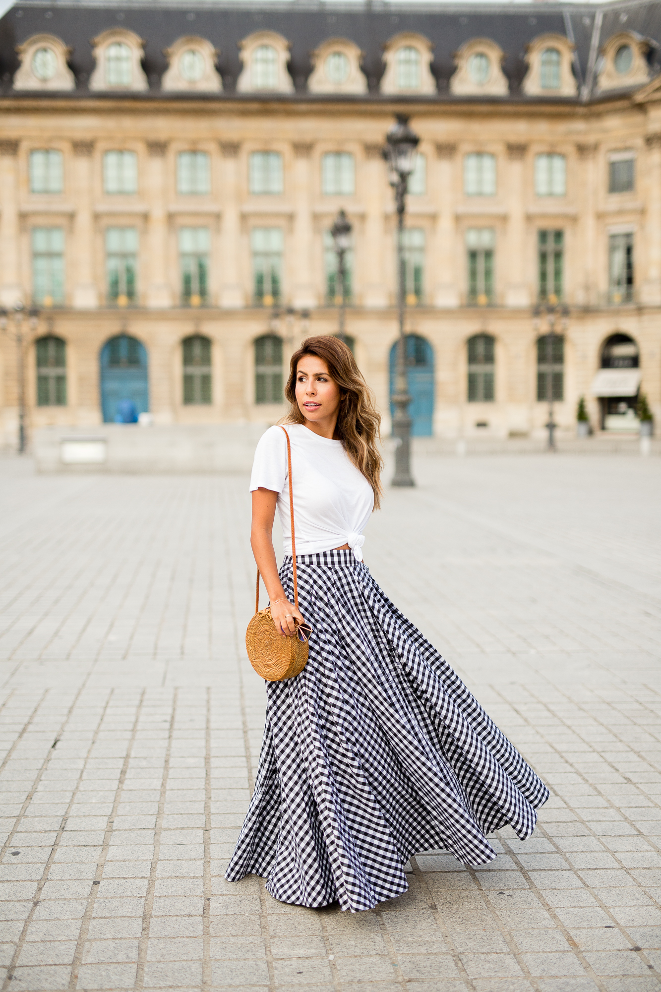 How to wear a gingham, Fame + Partners gingham maxi skirt