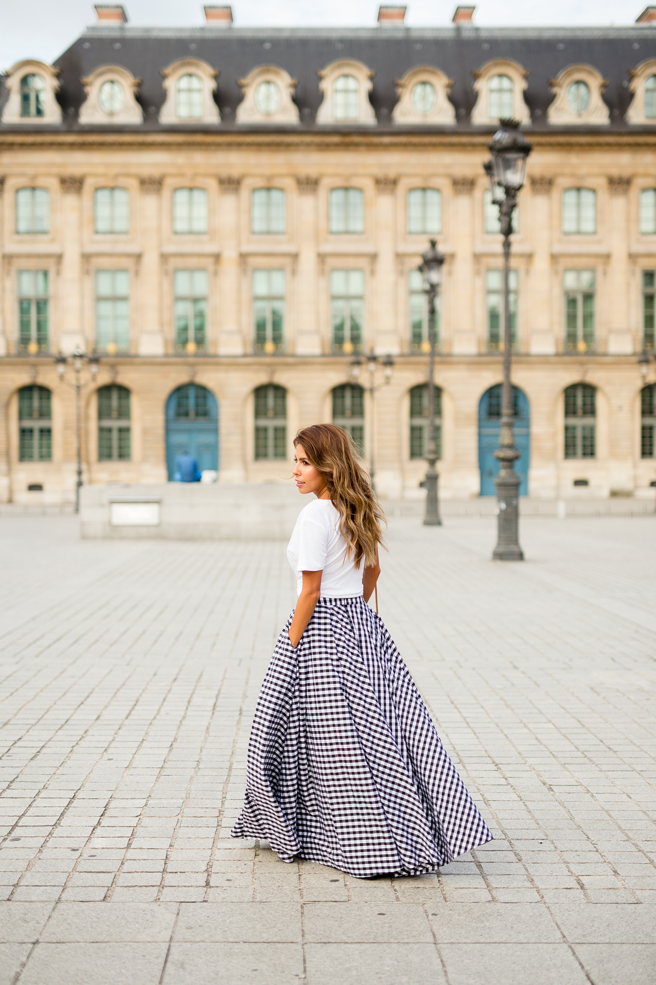 Place Vendome, Paris, How to wear gingham skirt, gingham skirt white t-shirt everyday pursuits