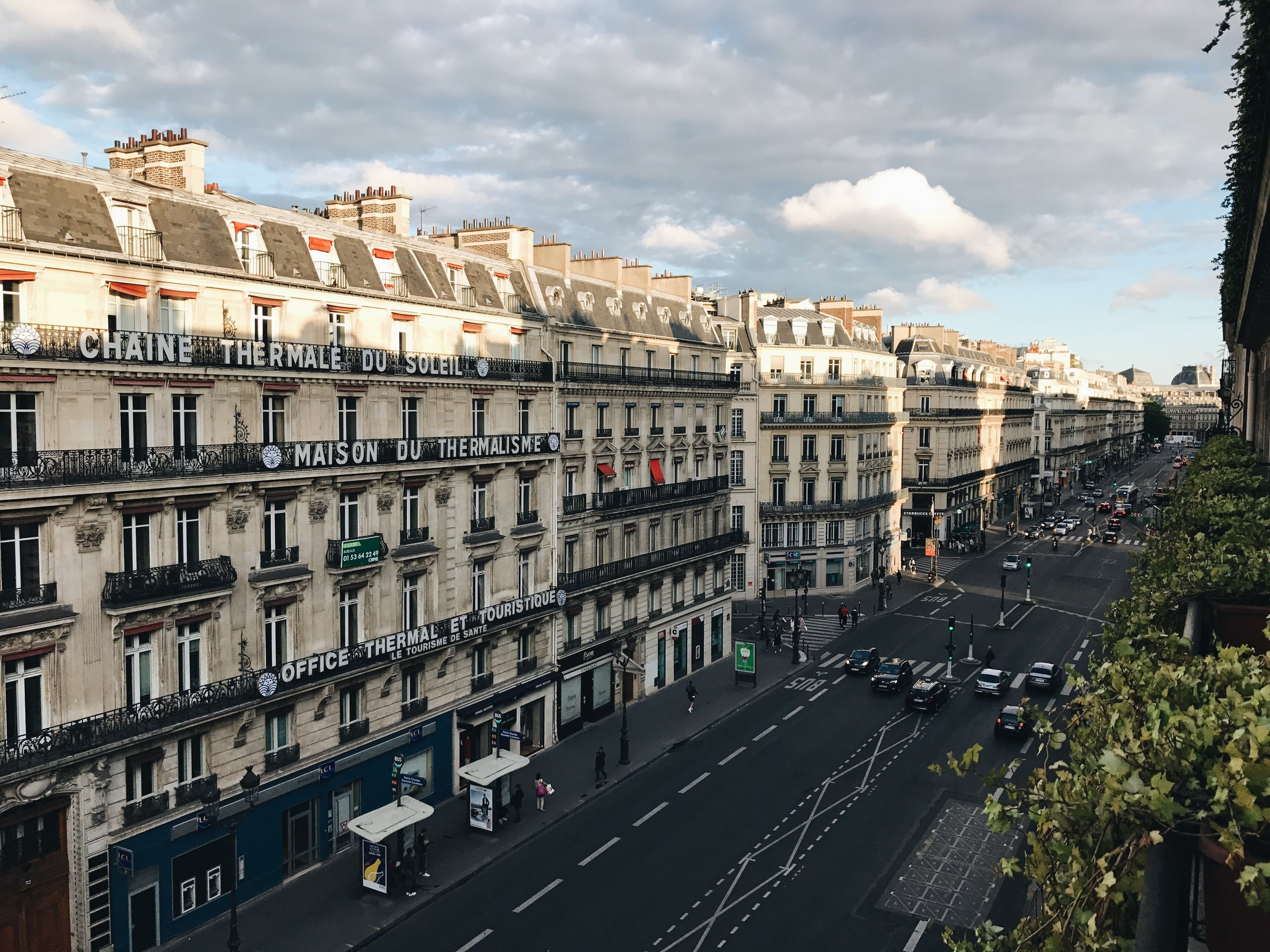 View from balcony at Hotel Edouard 7, Paris