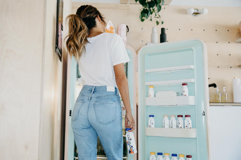 a fridge full of chobani yogurt drinks