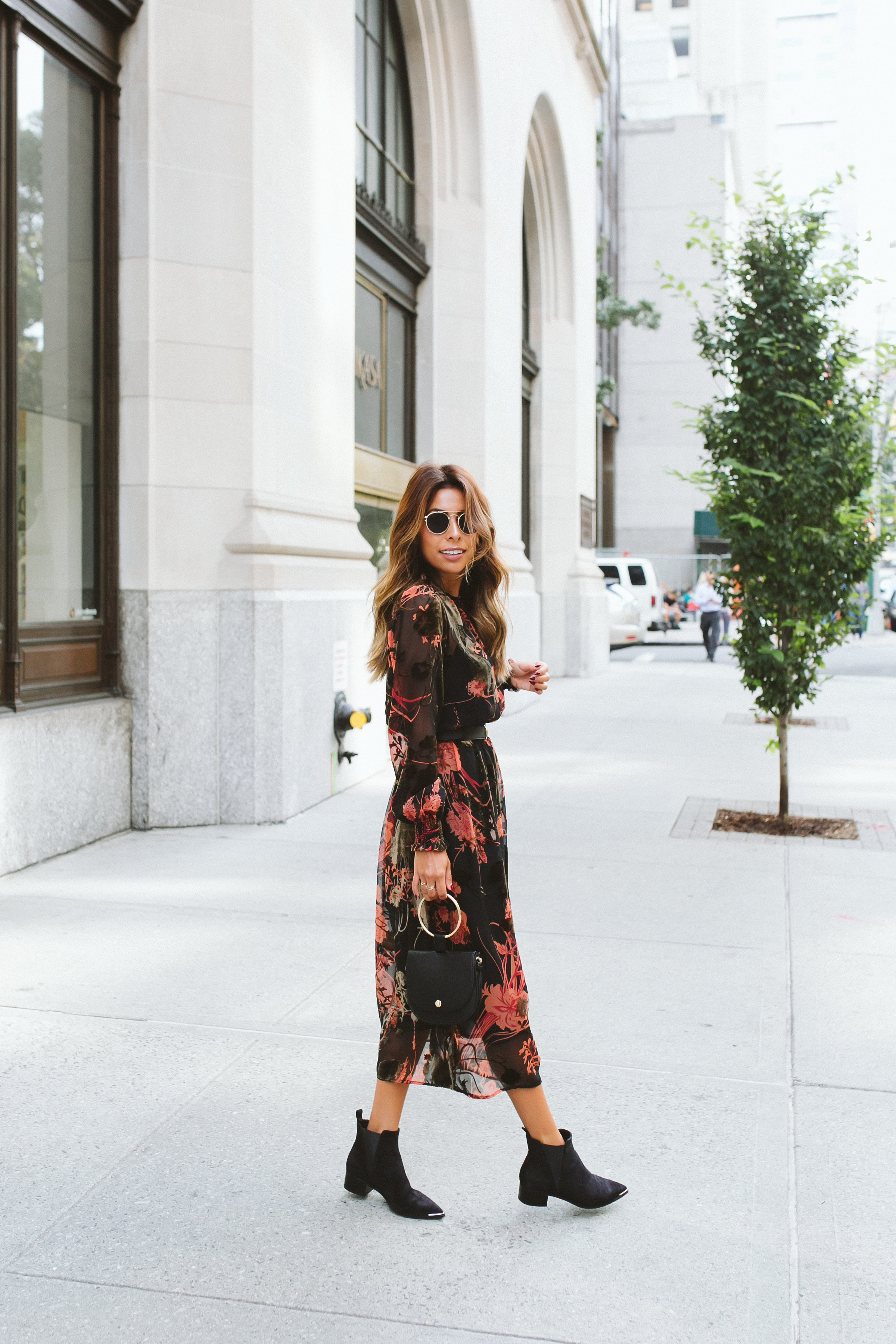 what to wear fall in new york, acne boots, zara floral dress for fall