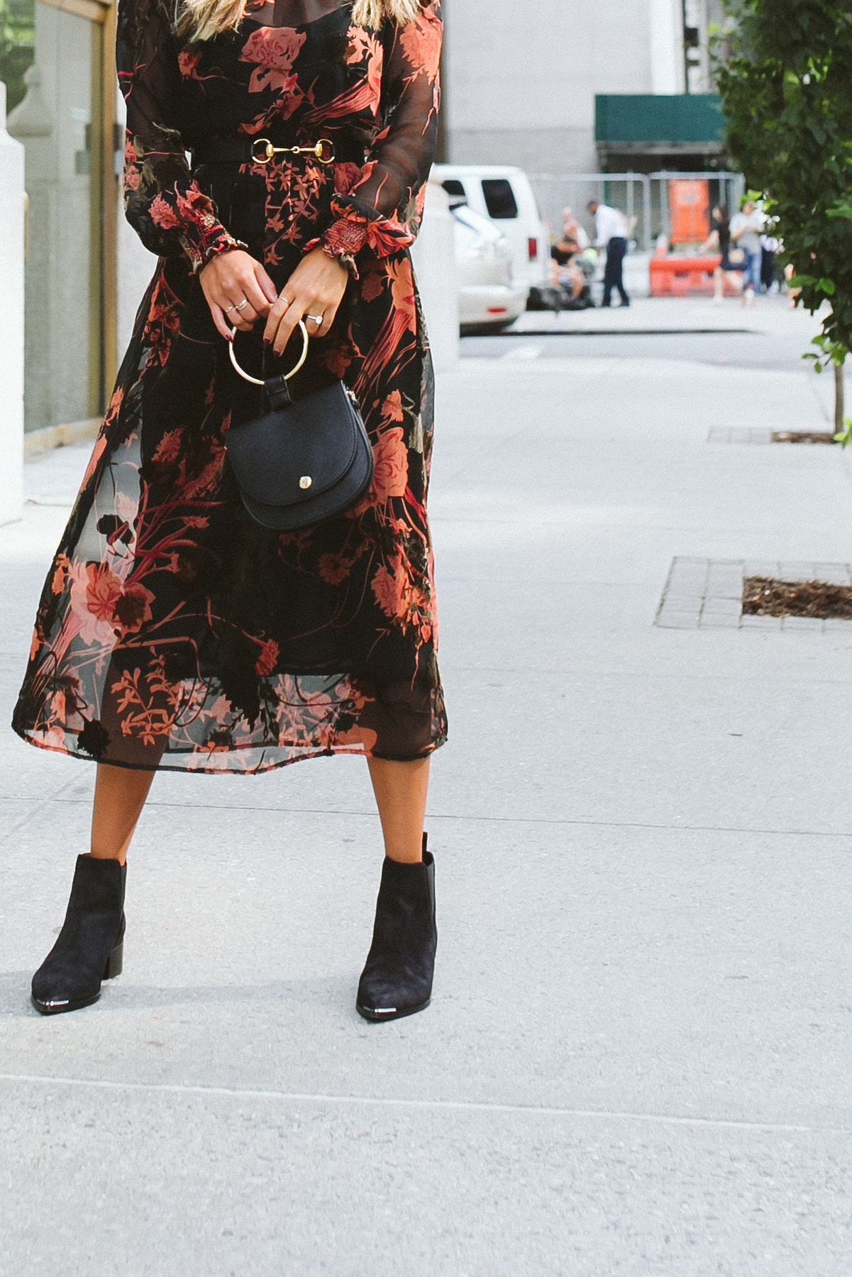 everyday pursuits, fall outfit inspo, feminine dress with booties