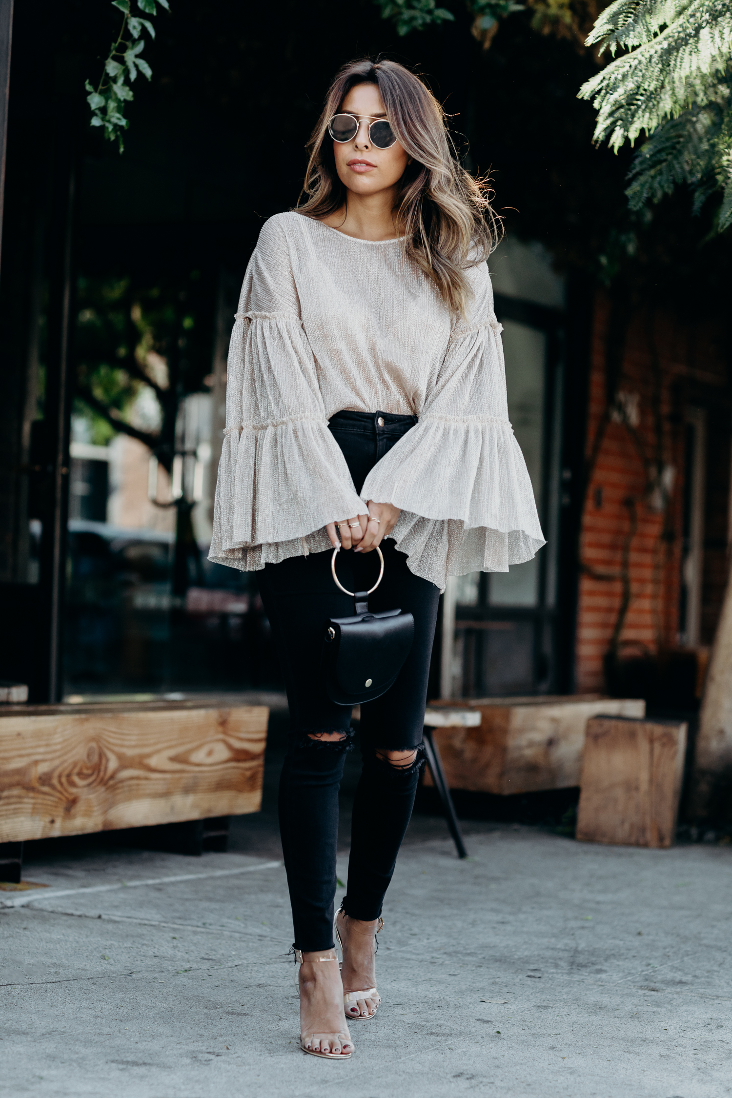 how to wear gold metallic sheer top, holiday outfit ideas