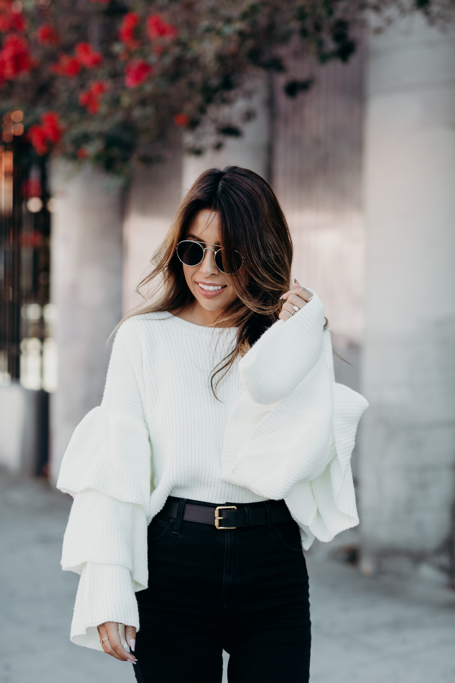 ribbed ruffle sleeve sweater outfit, gucci belt, joes jeans, fall outfit ideas from Everyday Pursuits