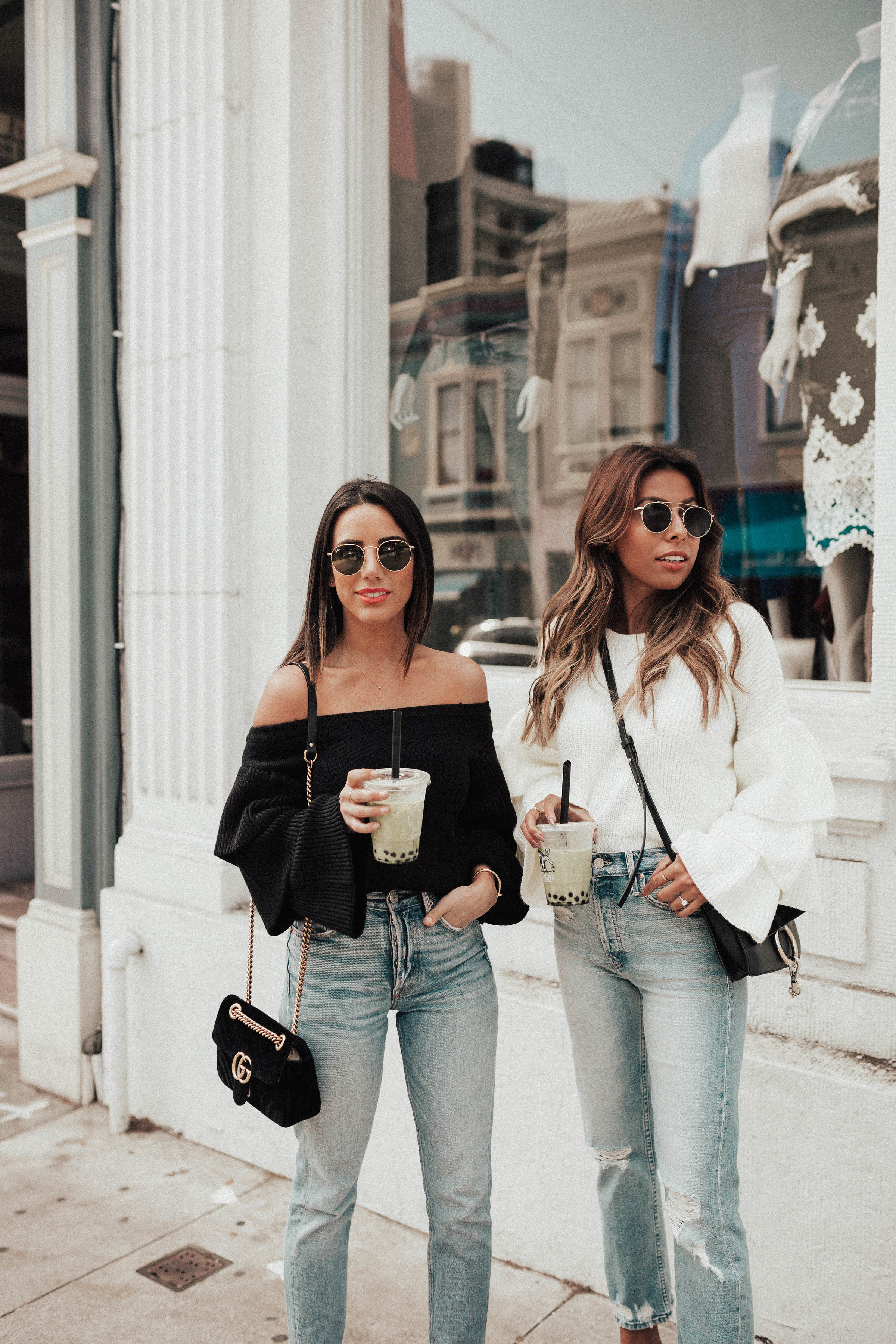 big sleeved sweater styles, how to wear light denim in fall and winter
