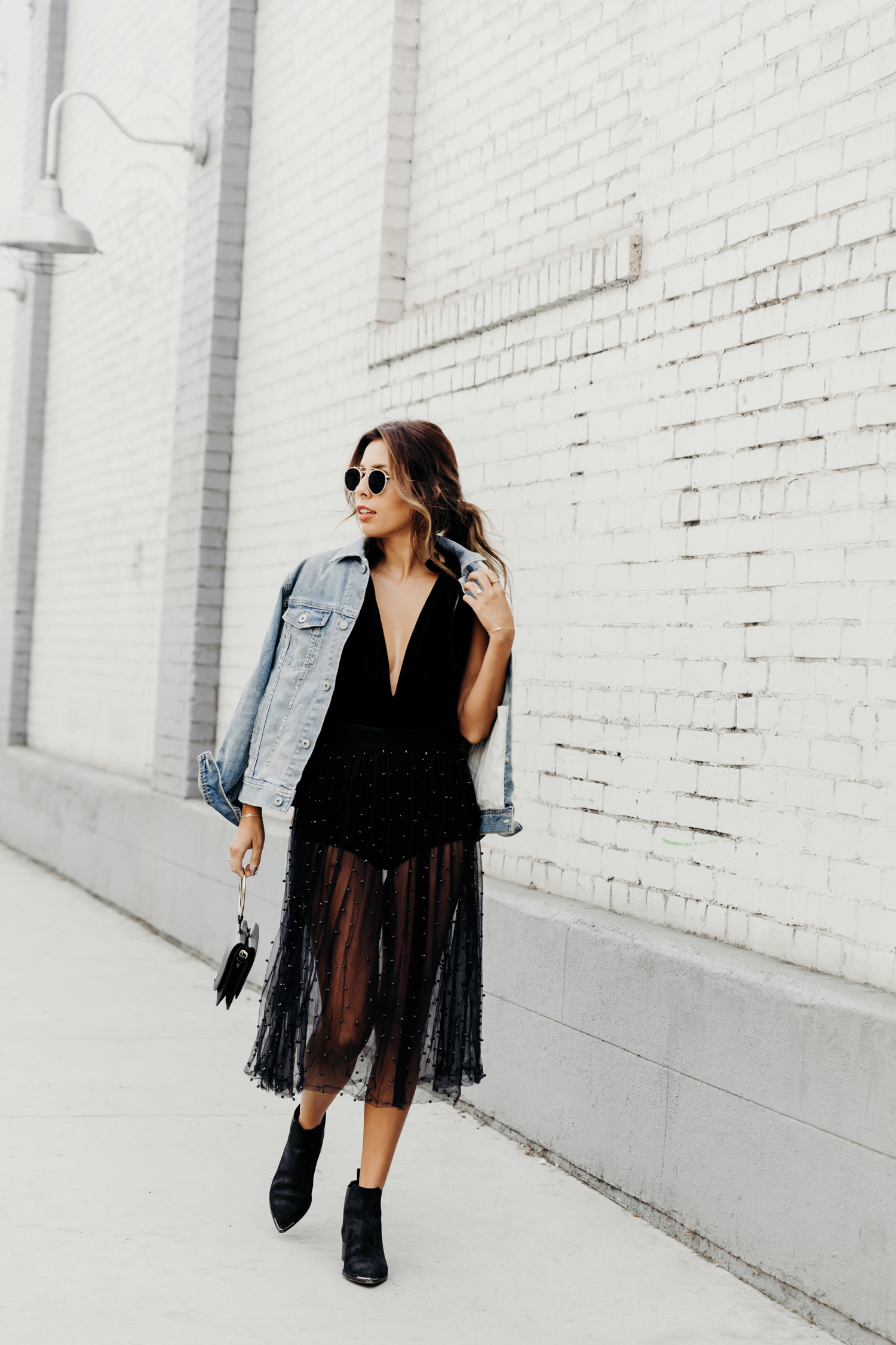 edgy holiday style, everyday pursuits ashley torres, how to wear sheer skirt, velvet bodysuit