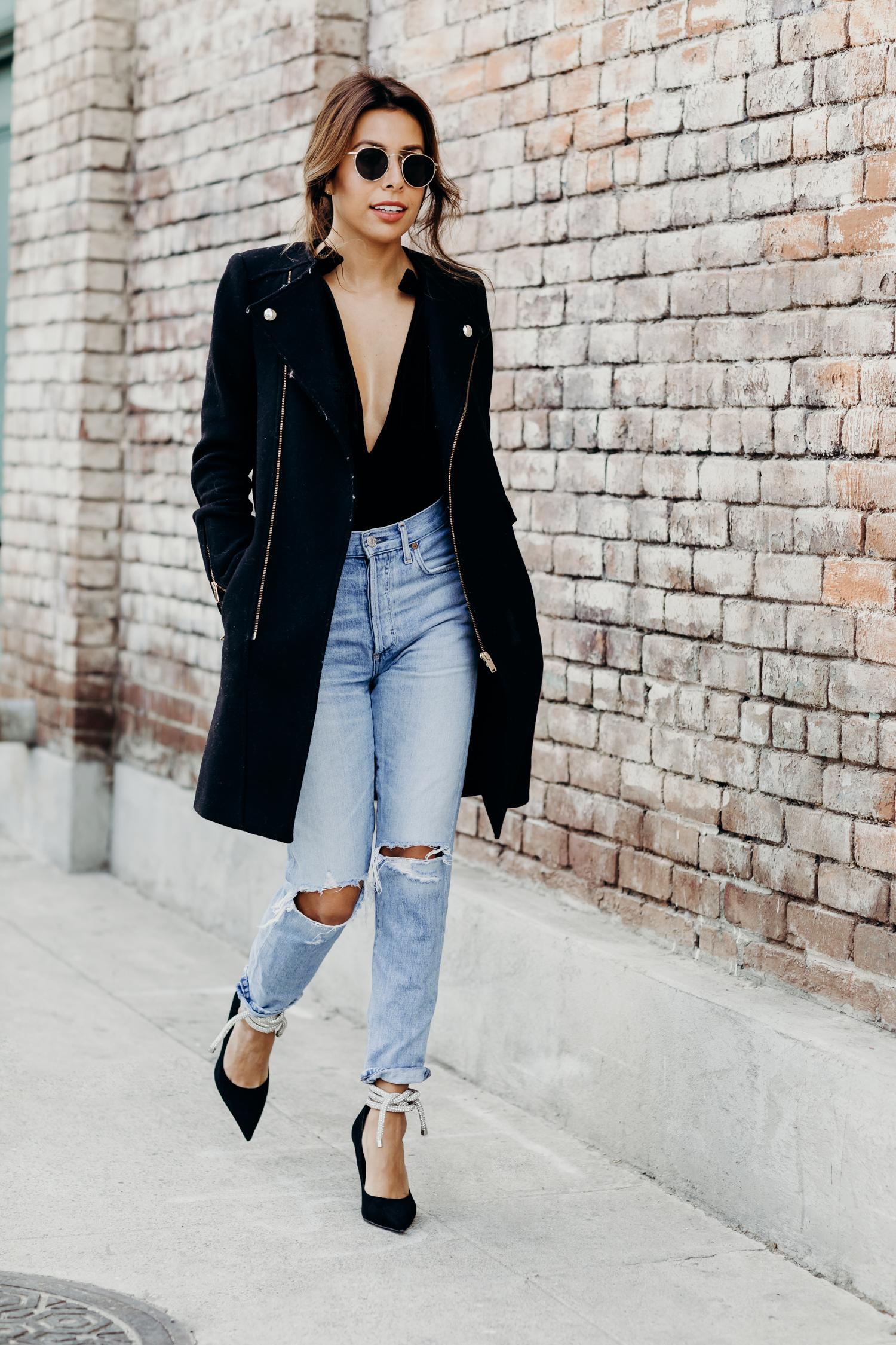 casual holiday look, zara sparkly heels, tie heels, jeans with heels look