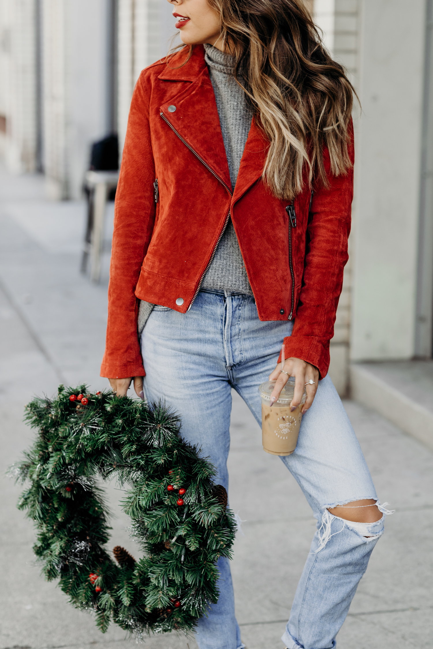 Los Angeles holiday vibes, BLANK NYC red jacket