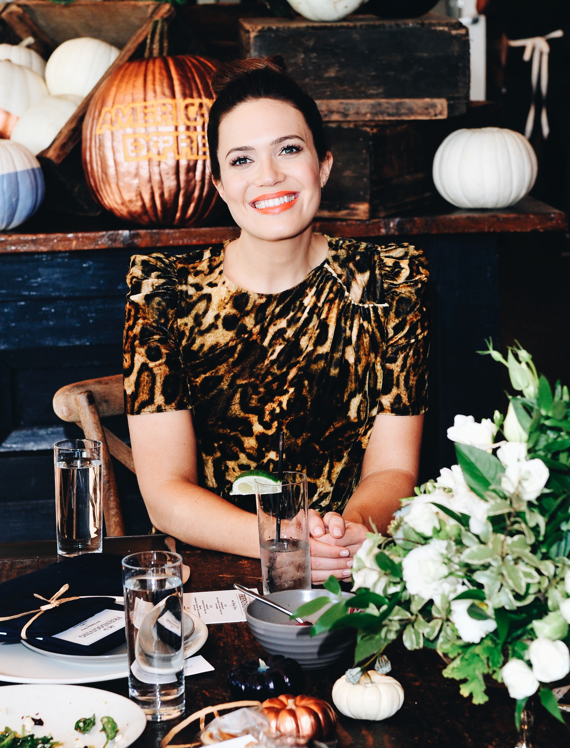 Mandy Moore Friendsgiving with Amex and Refinery 29