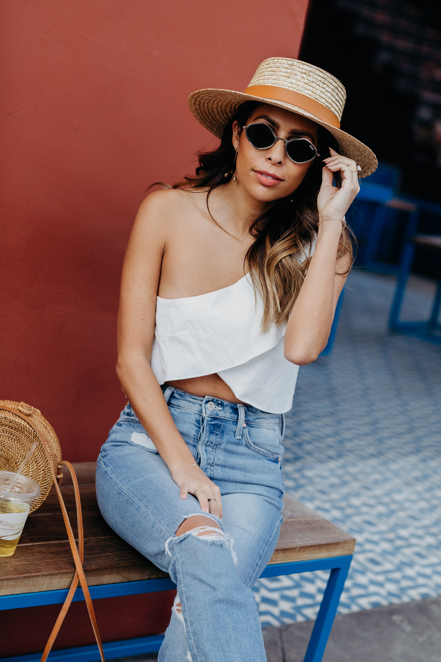 Palm Springs Vacay Outfit - Lioness Top + Lack of Color Hat