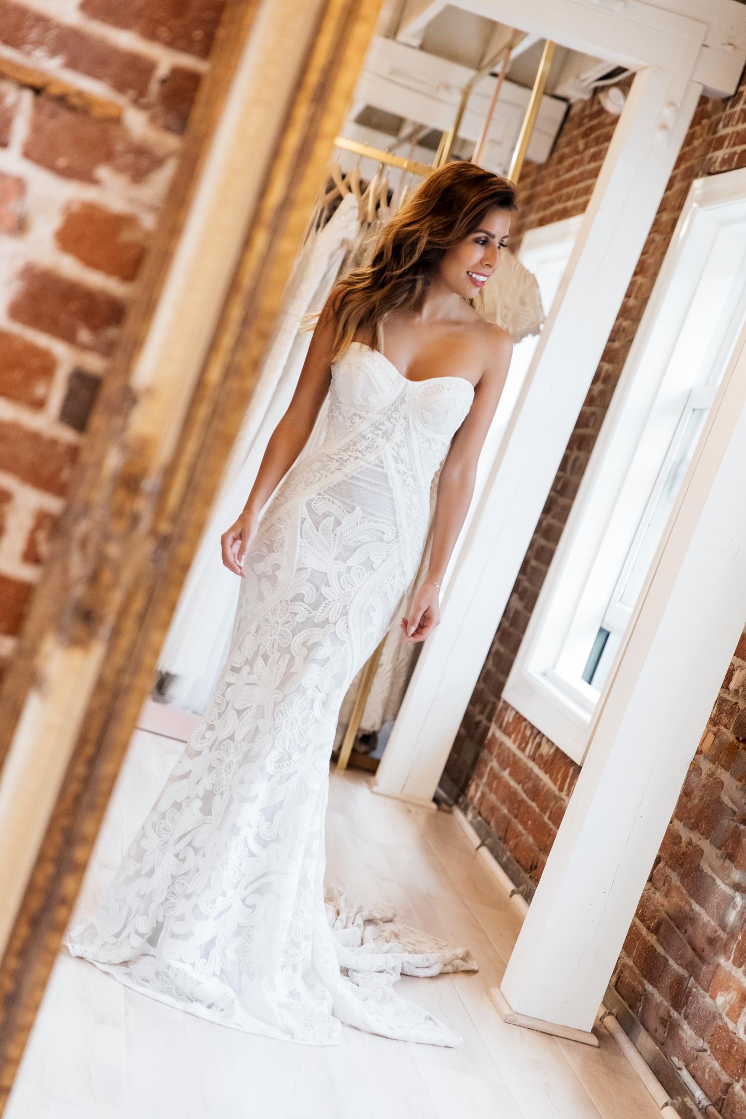 Strapless modern lace wedding gown by Rue De Seine - Lovely Bride Los Angeles